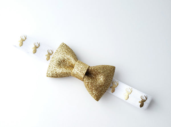Gold & White Reindeer Bow Headband