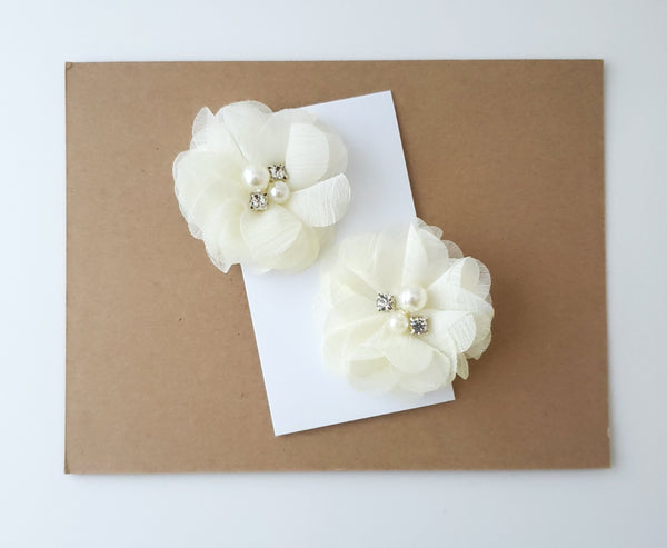 Ivory Chiffon Flower Hair Clips