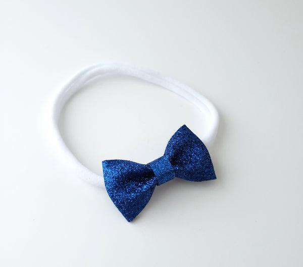 Petite Royal Blue Sparkly Bow Headband