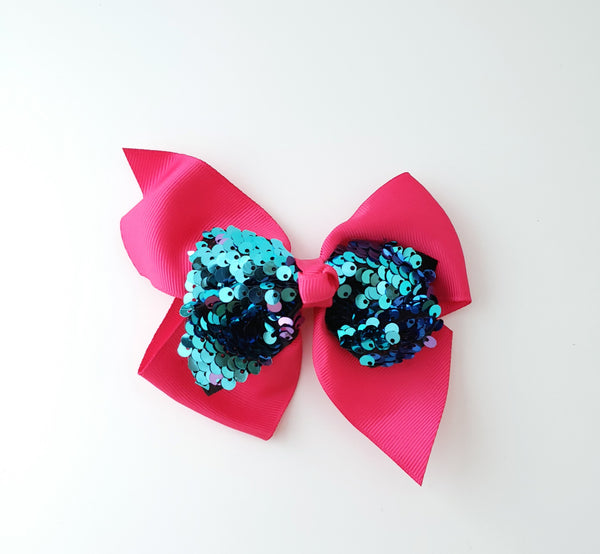 Hot Pink & Turquoise Hair Bow