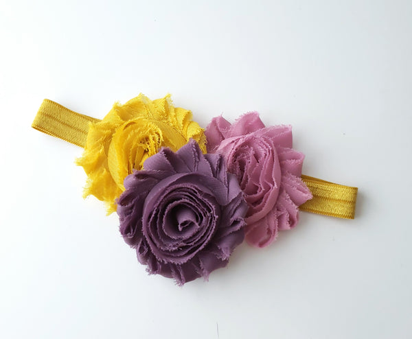 Blush Pink, Mustard and Pale Plum Shabby Chic Headband
