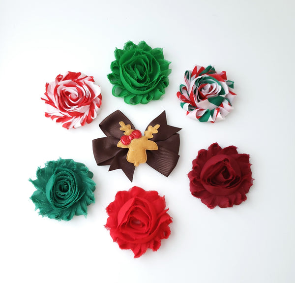 Set of 7 Holiday Hair Clips
