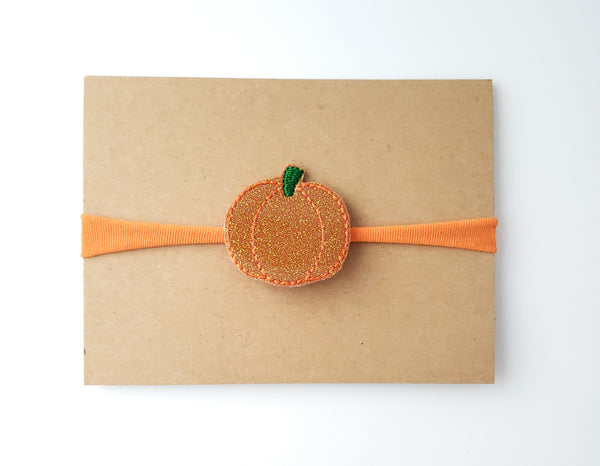 Orange Glitter Pumpkin Headband
