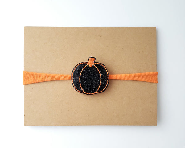 Black and Orange Pumpkin Headband