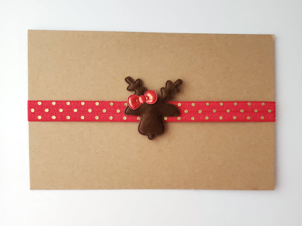Red Reindeer Headband, Holiday Headband