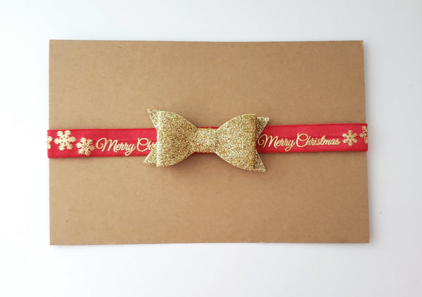 Red and Gold Merry Christmas Headband