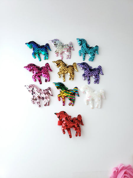 Sequin Unicorn Hair Clips