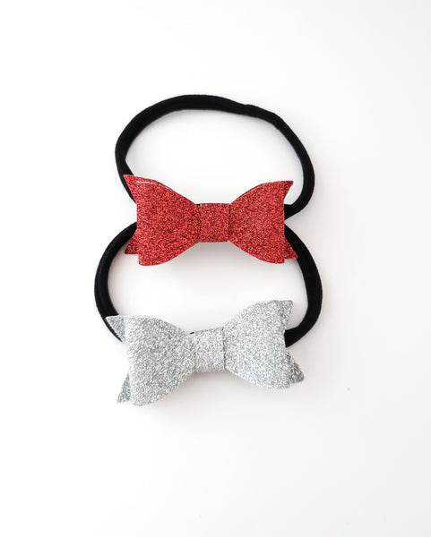 Red and Silver Glitter Bow Headbands