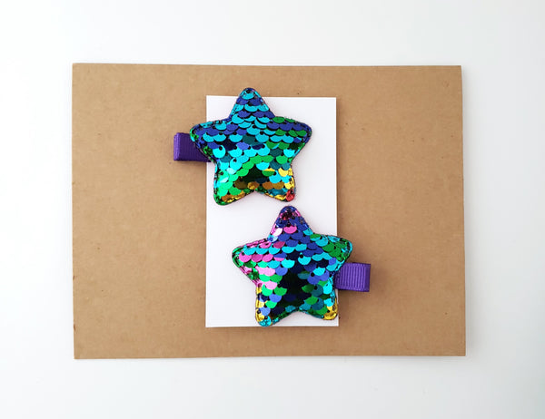 Reversible Sequin Star Hair Clips