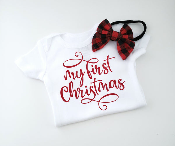 My 1st Christmas Onesie & Headband