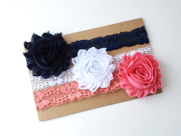 Set of 3 Lace Baby Headbands, Navy Blue and Coral Headbands
