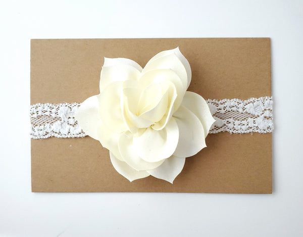 Ivory Lace Baptism Headband, Flower Girl Headband