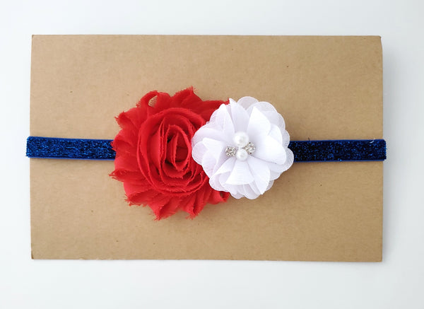 Patriotic Red White and Blue Headband, 4th of July Headband