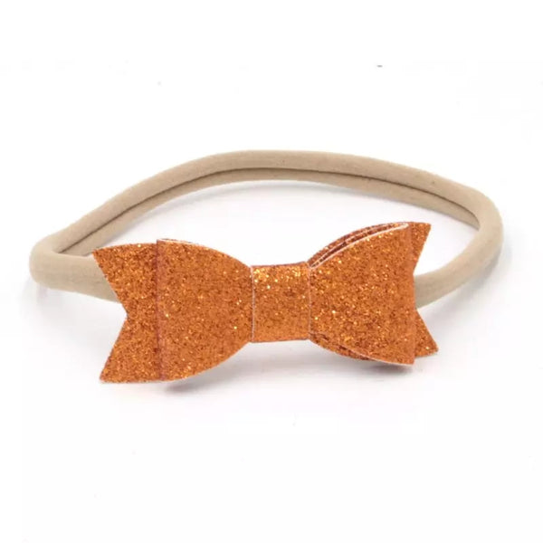 Rustic Orange Glitter Bow Headband,  Fall Baby Headband - LoliBean