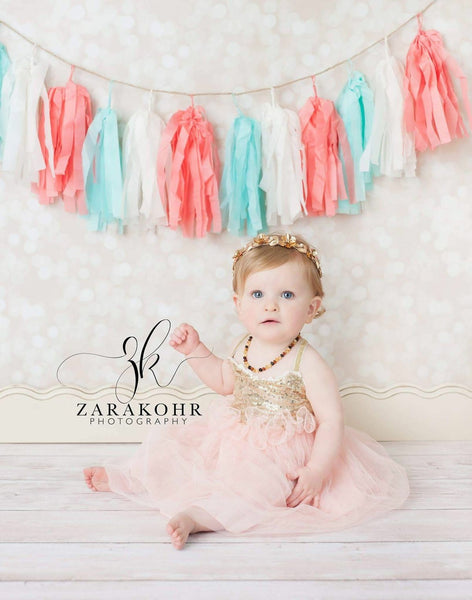 Peach and Gold First Birthday Dress - LoliBean