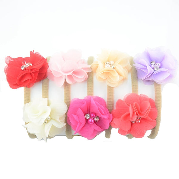 Set of 7 Nylon Baby Headbands - LoliBean