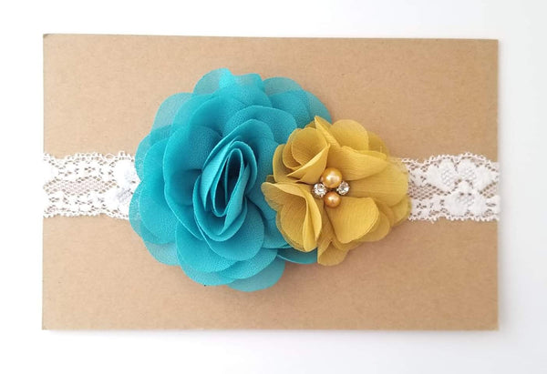 Teal Mustard and Ivory Lace Headband