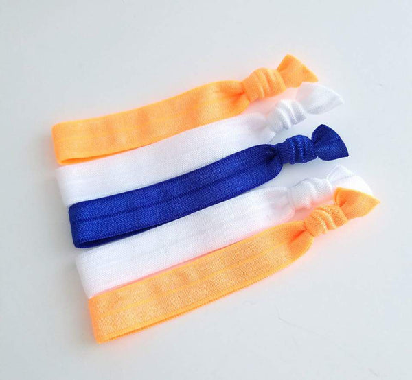 Orange and Blue Hair Tie Set, Set of 5 Elastic Hair Ties - LoliBean
