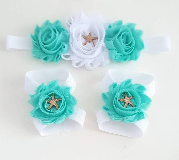 Aqua and White Starfish Headband and Sandals - LoliBean