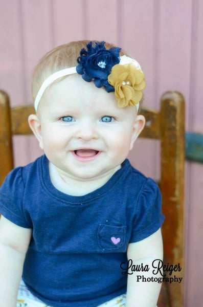 Navy and Mustard Autumn Headband - LoliBean
