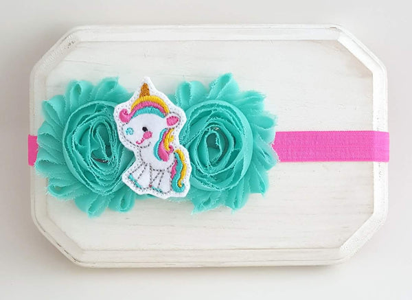 Hot Pink and Aqua Unicorn Headband, Unicorn Headband - LoliBean