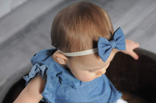 Denim Bow Headband, Blue Denim Bow - LoliBean