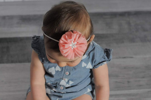 Peach Starfish Headband, Peach Headband - LoliBean