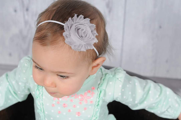 Gray And White Headband, Newborn Headband, Baby Headband - LoliBean