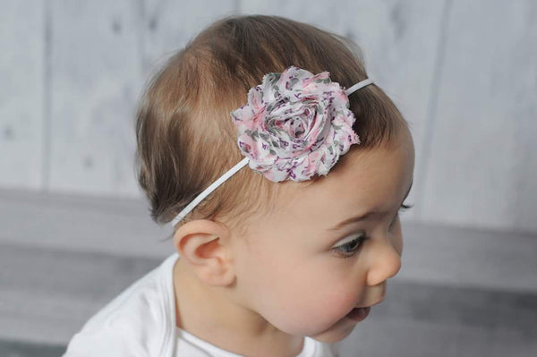 Pink and Gray Floral Headband