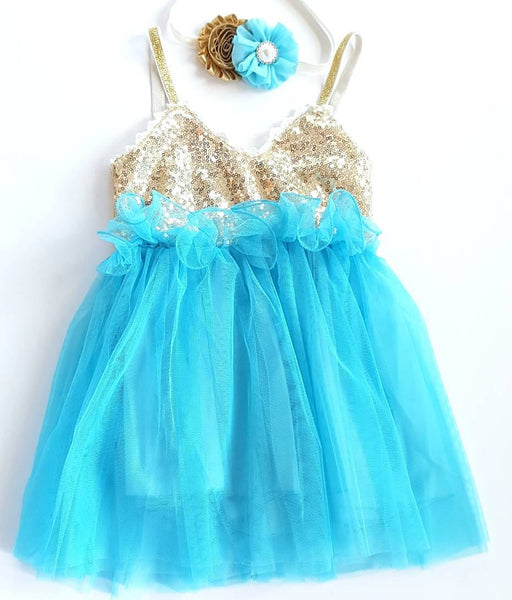 Teal and Gold Birthday Dress, First Birthday Dress - LoliBean