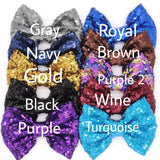 "Large 4"" Sequin Bows - You Pick Color - LoliBean"