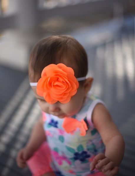 Neon Orange and White Headband