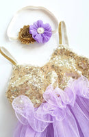 Lavender and Gold Birthday Dress - LoliBean