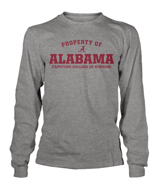 Property of Alabama Capstone College of Nursing 100% Cotton Gray Long Sleeve T-shirt