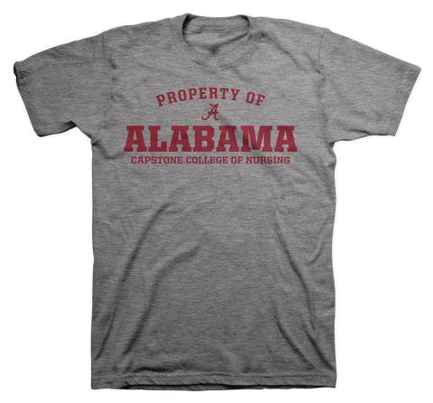 Property of Alabama Capstone College of Nursing 100% Cotton Gray T-shirt