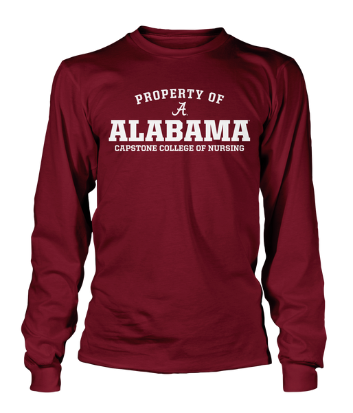Property of Alabama Capstone College of Nursing 100% Cotton Crimson Long Sleeve T-shirt