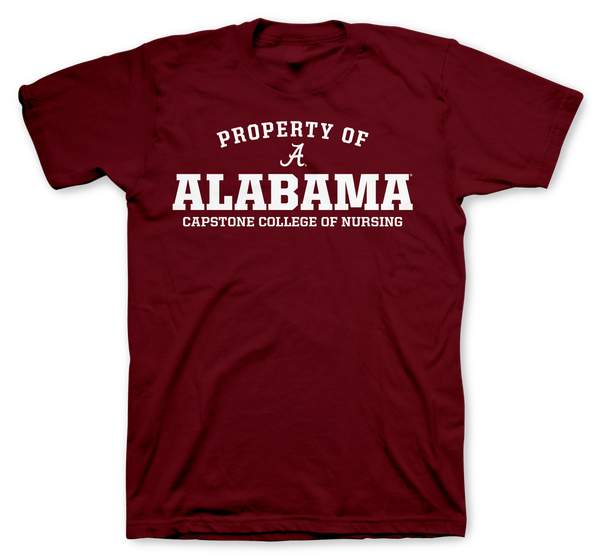 Property of Alabama Capstone College of Nursing 100% Cotton Crimson T-shirt