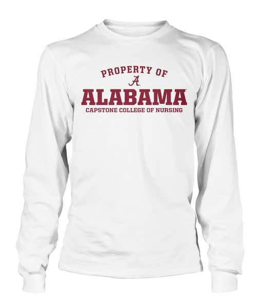 Property of Alabama Capstone College of Nursing 100% Cotton White Long Sleeve T-shirt