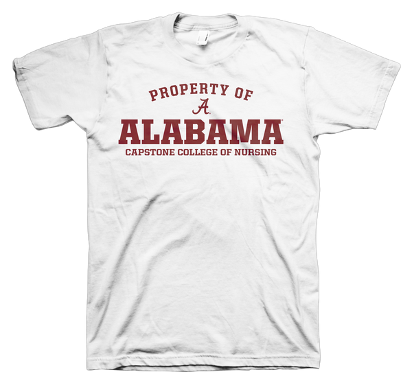 Property of Alabama Capstone College of Nursing 100% Cotton White T-shirt
