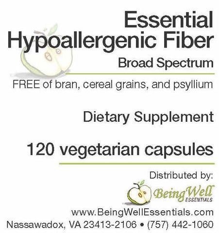 Essential Hypo-allergenic Broad Spectrum Fiber - FREE of bran, cereal grains, and psyllium - 120 vegetarian capsules -  FREE US SHIPPING