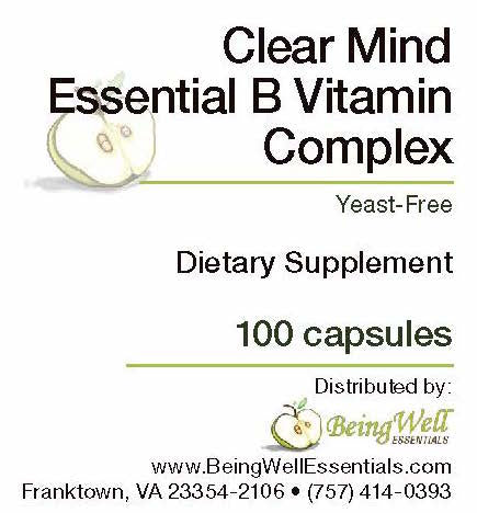 Clear Mind Essential B VITAMIN COMPLEX - 100 capsules- Yeast Free - FREE US SHIPPING