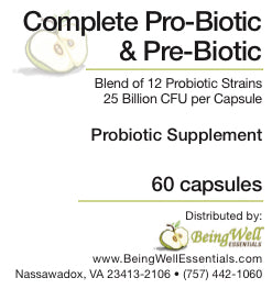 Complete Pro-Biotic & Pre-Biotic Blend of 12 probiotic strains 25 billion CFU per capsule 60 capsules