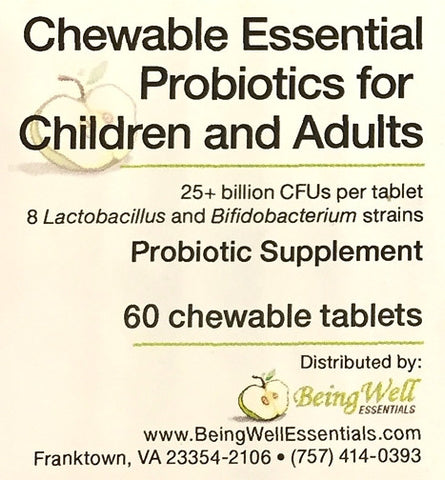 NEW PRODUCT! - CHEWABLE ESSENTIAL PROBiotics - 60 Tablets - FREE US SHIPPING