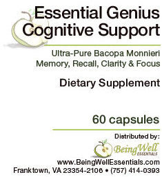 Essential Genius - Cognitive Support improves Memory, Clarity, Focus & Recall - 60 capsules - FREE US SHIPPING