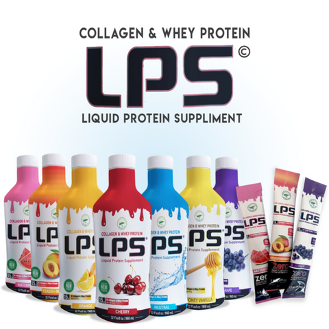 Liquid Protein Supplement - Collagen & Whey - 32 fluid oz. - 6 flavors available