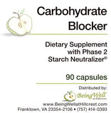 CARBOHYDRATE BLOCKER with PHASE 2 STARCH NEUTRALIZER 90 CAPS - FREE US SHIPPING
