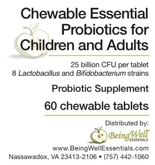 Chewable Essential Probiotics for Children & Adults - 60 tablets - FREE US SHIPPING