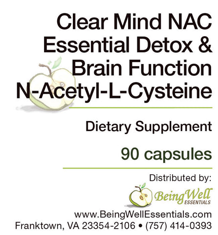 Clear Mind NAC Essential Detox & Brain Function N-Acetyl-L-Cysteine - Dietary Supplement - 90 capsules