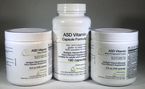 ASD VITAMIN Iron and Copper Free - Gluten & Casein Free - SCD Compliant formula