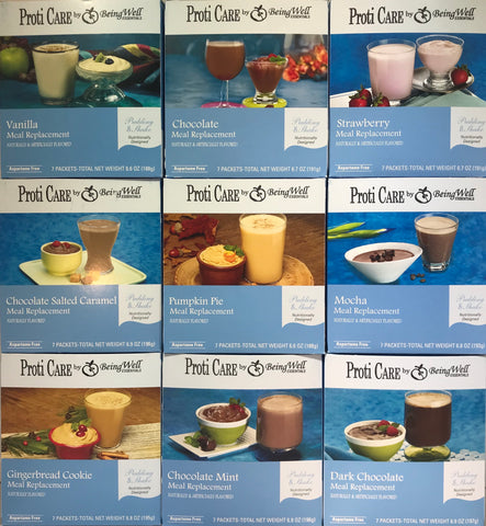 Proti Care Meal Replacement Pudding & Shake - Nine FLAVORS- Aspartame Free - 7 servings - 100 calories -15g protein